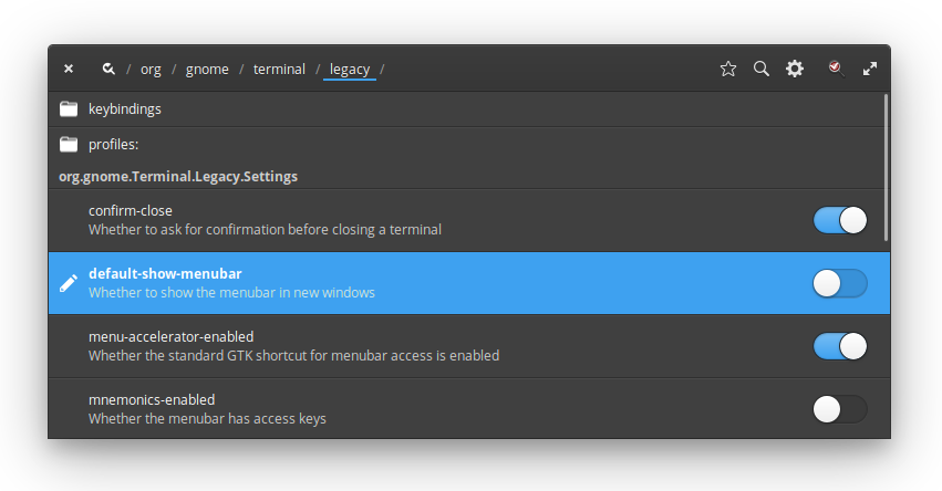 Uncheck default-show-menubar for GNOME Terminal in dconf-settings